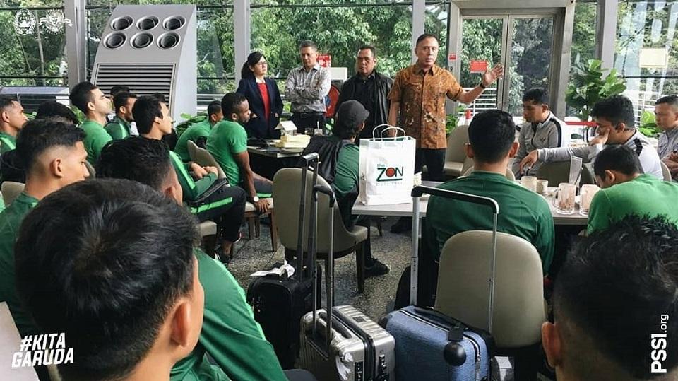 Pemain Timnas Indonesia tiba di Malaysia. (Instagram/@officialpssi).