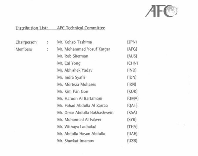Susunan Komite Teknik AFC periode 2019-2023. (Foto: Twitter/@indra_sjafri).