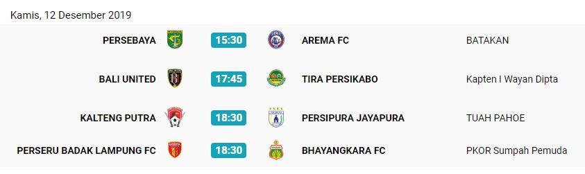 Jadwal Liga 1 2019, Kamis (12/12/2019). (Liga-indonesia.id).