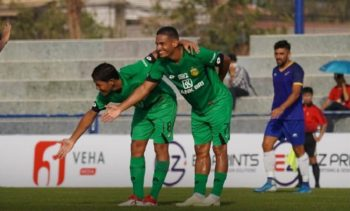 Selebrasi Renan Silva usai mencetak gol ke gawang Visakha FC. (Instagram/@bhayangkarafc).