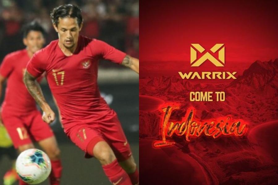 Kolase Timnas Indonesia dan Warrix.