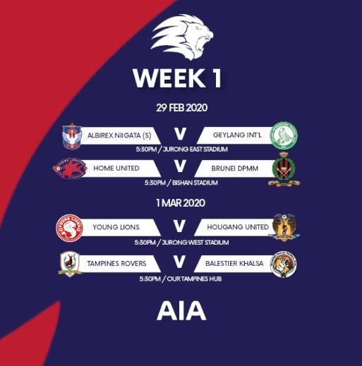 Jadwal pekan pertama Liga Singaura 2020. Foto: FA Singapura