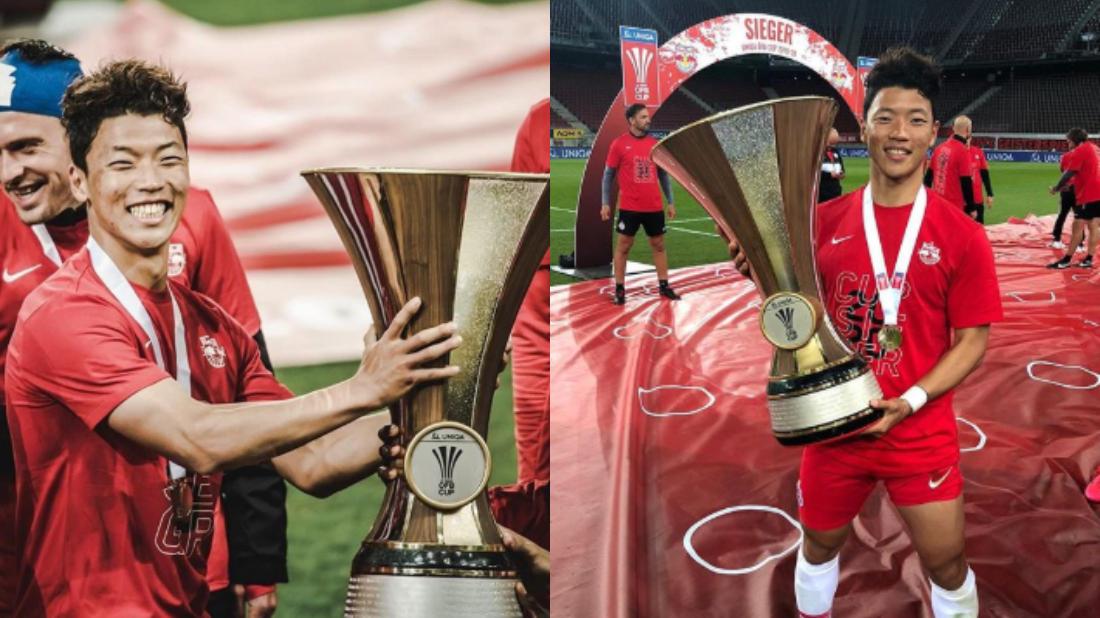 Hwang Hee-chan juara Piala Austria bersama RB Salzburg. (Instagram/@hwangheechan).
