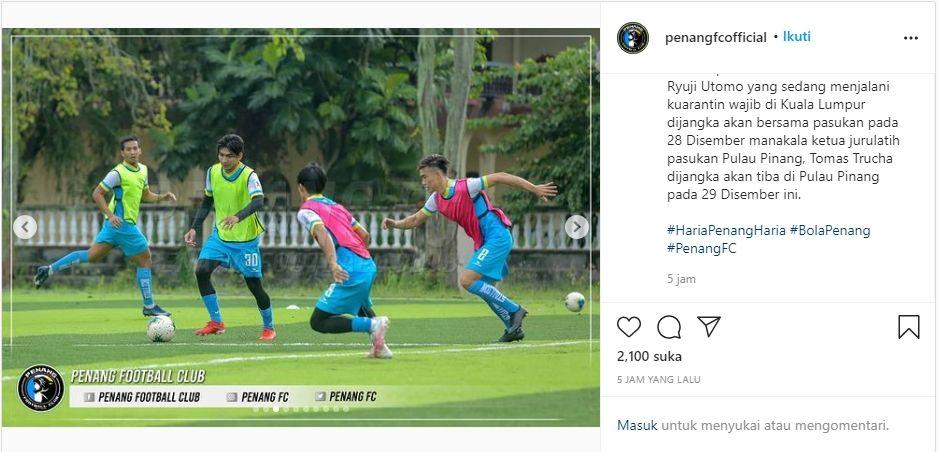 Sesi latihan Penang FC tanpa Ryuji Utomo. (Instagram/@penangfcofficial).
